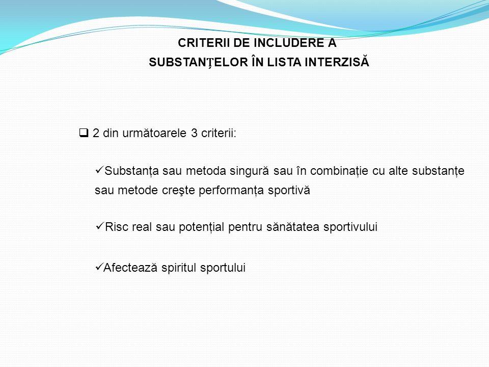 CRITERII DE INCLUDERE A SUBSTANELOR ÎN LISTA INTERZISĂ  2 din următoarele 3 criterii: Substanţa sau metoda singură sau în combinaţie cu alte substanţ