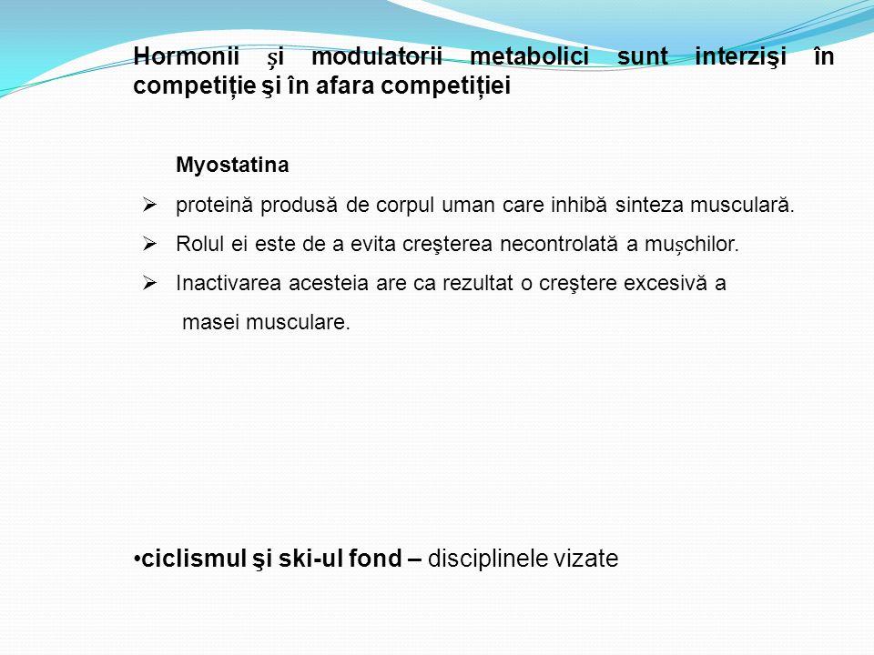 Myostatina  proteină produsă de corpul uman care inhibă sinteza musculară.  Rolul ei este de a evita creşterea necontrolată a muchilor.  Inactivare
