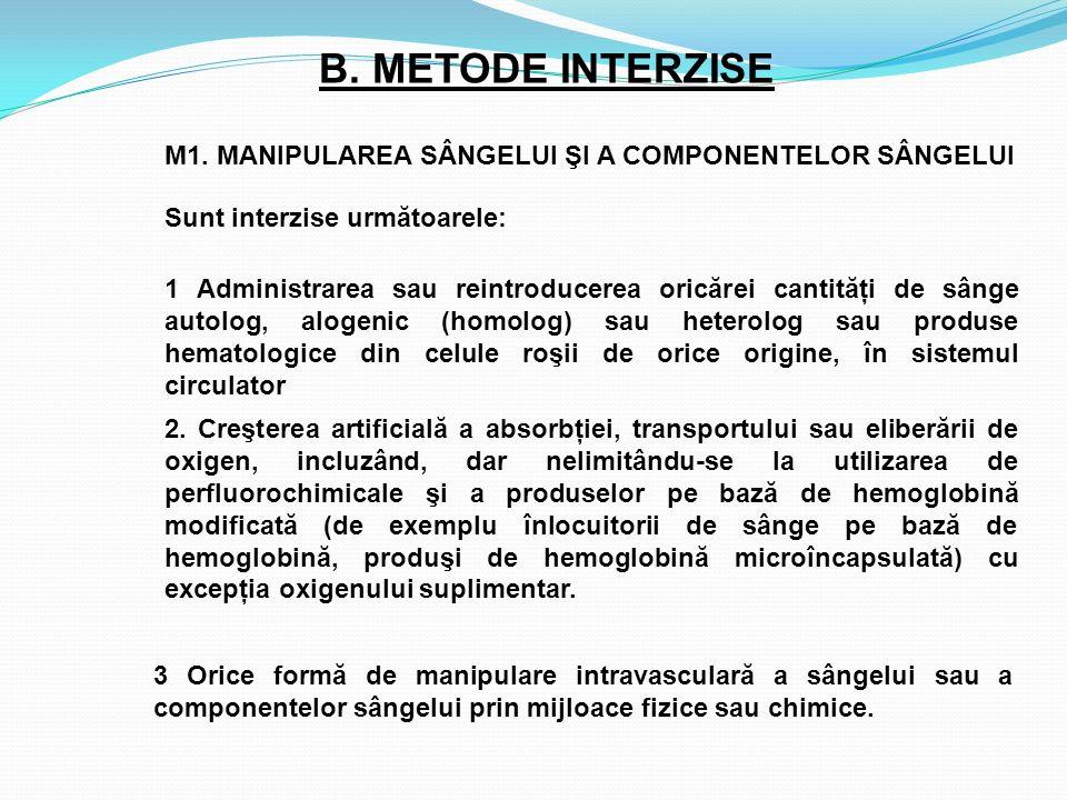 B. METODE INTERZISE 2. Creşterea artificială a absorbţiei, transportului sau eliberării de oxigen, incluzând, dar nelimitându-se la utilizarea de perf