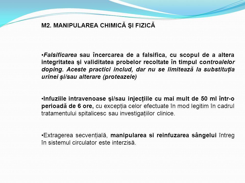 M2. MANIPULAREA CHIMICĂ ŞI FIZICĂ Falsificarea sau încercarea de a falsifica, cu scopul de a altera integritatea şi validitatea probelor recoltate în