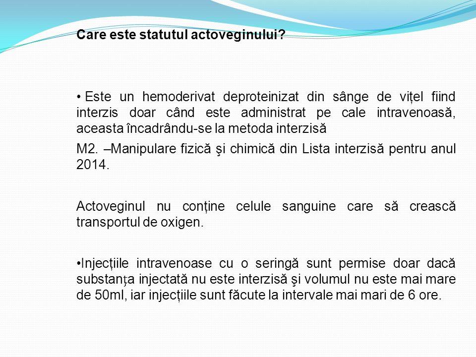 Care este statutul actoveginului? Este un hemoderivat deproteinizat din sânge de viţel fiind interzis doar când este administrat pe cale intravenoasă,