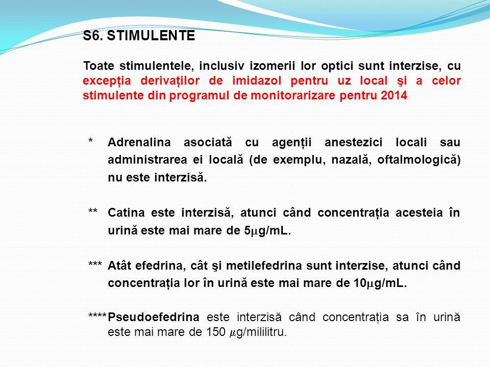 S6. STIMULENTE Toate stimulentele, inclusiv izomerii lor optici sunt interzise, cu excepţia derivaţilor de imidazol pentru uz local şi a celor stimule
