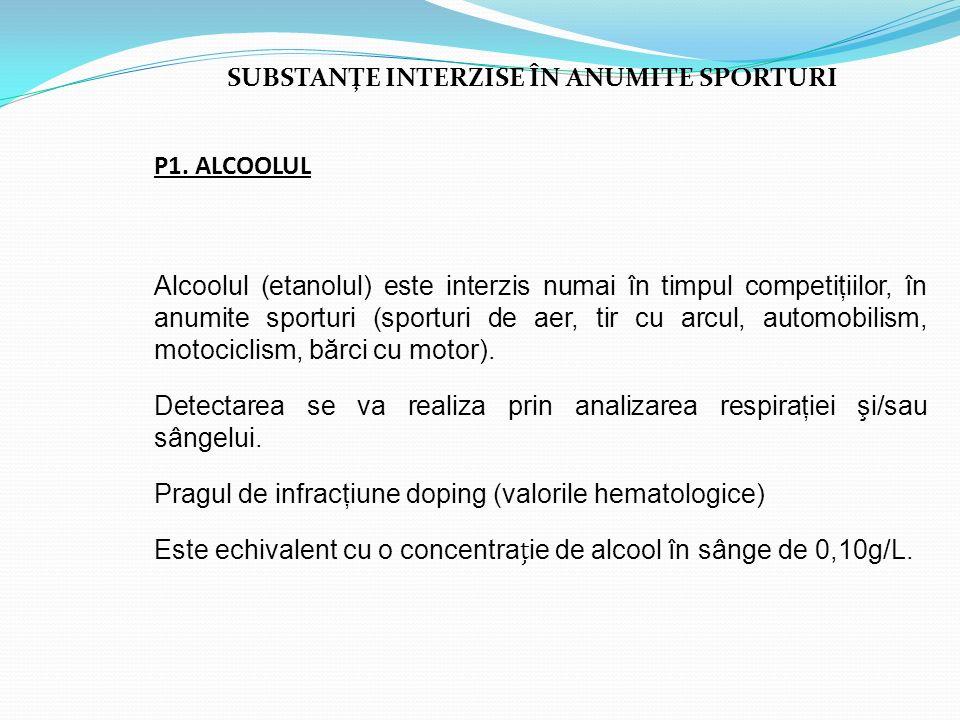 SUBSTANŢE INTERZISE ÎN ANUMITE SPORTURI P1. ALCOOLUL Alcoolul (etanolul) este interzis numai în timpul competiţiilor, în anumite sporturi (sporturi de