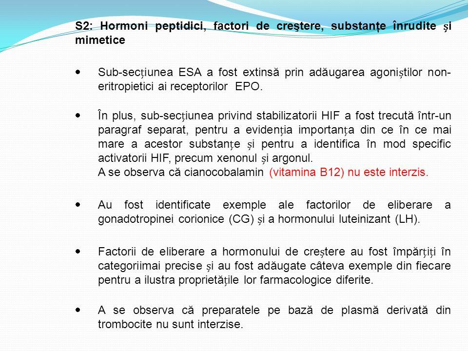 S2: Hormoni peptidici, factori de creştere, substanţe înrudite i mimetice  Sub-seciunea ESA a fost extinsă prin adăugarea agonitilor non- eritropieti