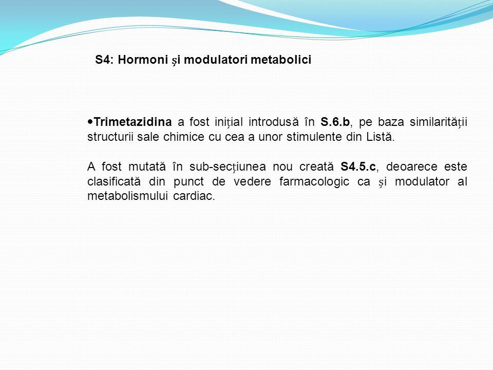  Trimetazidina a fost iniial introdusă în S.6.b, pe baza similarităii structurii sale chimice cu cea a unor stimulente din Listă. A fost mutată în su