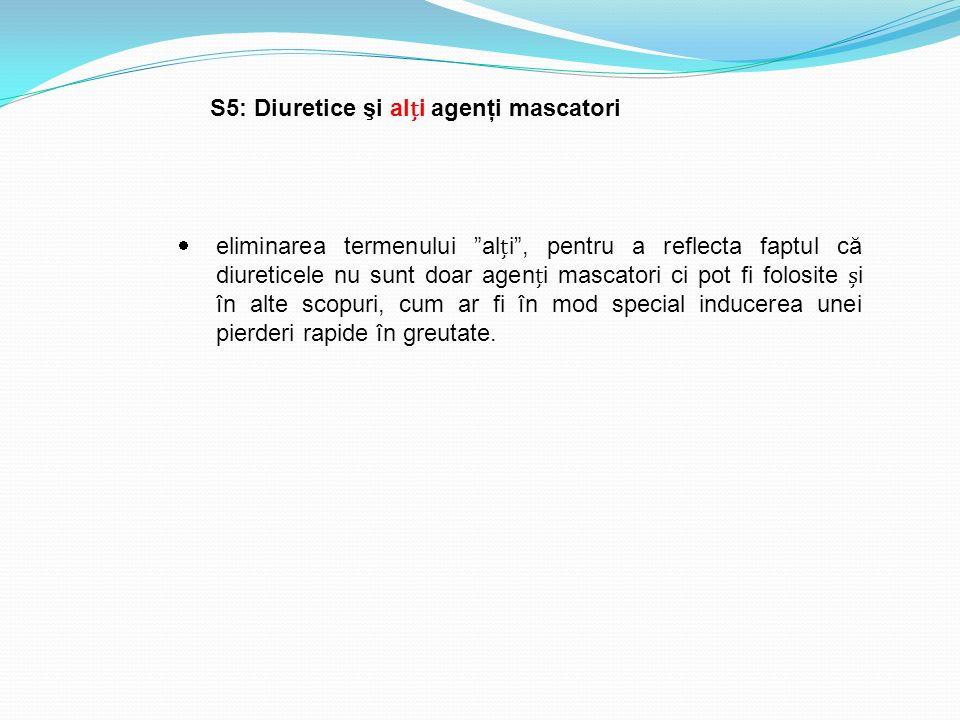 """S5: Diuretice şi ali agenţi mascatori  eliminarea termenului """"ali"""", pentru a reflecta faptul că diureticele nu sunt doar ageni mascatori ci pot fi fo"""