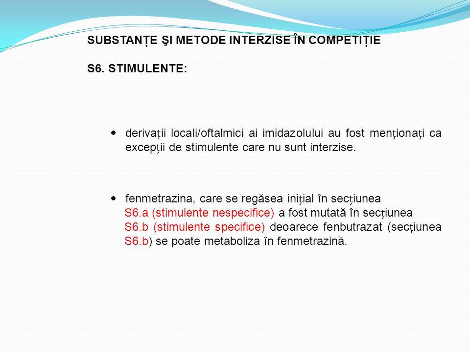 SUBSTANŢE ŞI METODE INTERZISE ÎN COMPETIŢIE S6. STIMULENTE:  derivaii locali/oftalmici ai imidazolului au fost menionai ca excepii de stimulente care