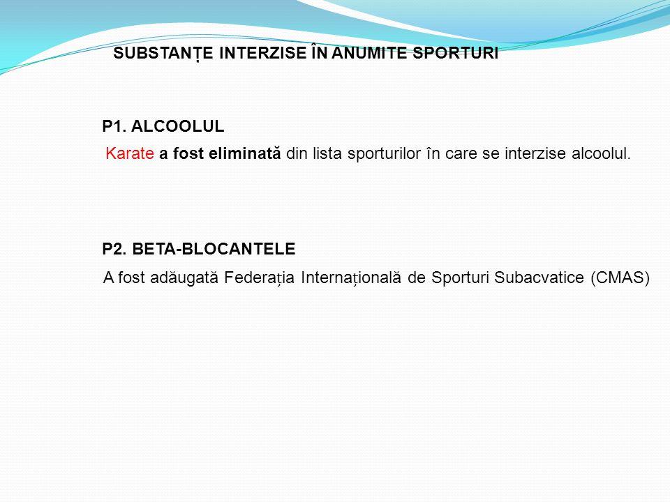 Karate a fost eliminată din lista sporturilor în care se interzise alcoolul. SUBSTANŢE INTERZISE ÎN ANUMITE SPORTURI P1. ALCOOLUL A fost adăugată Fede
