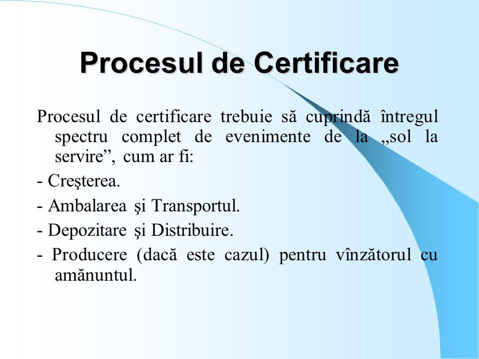 """Procesul de Certificare Procesul de certificare trebuie să cuprindă întregul spectru complet de evenimente de la """"sol la servire"""", cum ar fi: - Creşte"""