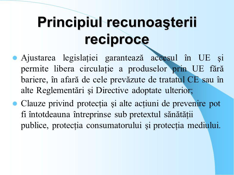 Principiul recunoaşterii reciproce Ajustarea legislaţiei garantează accesul în UE şi permite libera circulaţie a produselor prin UE fără bariere, în a