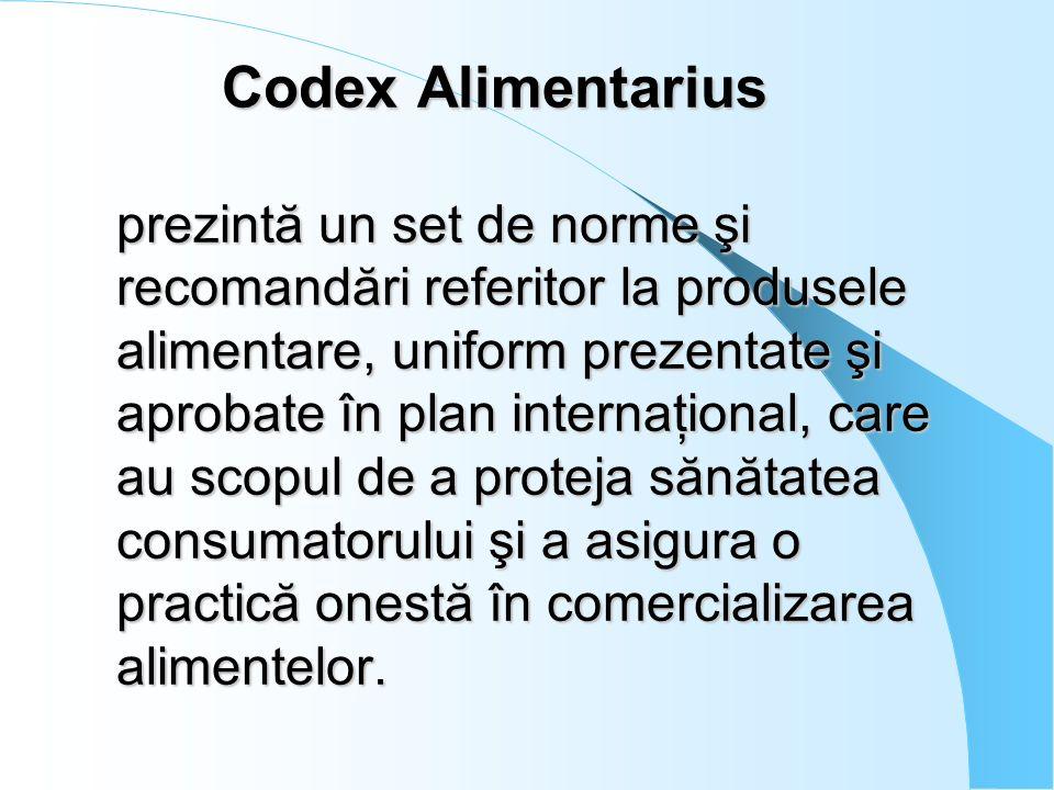 Codex Alimentarius prezintă un set de norme şi recomandări referitor la produsele alimentare, uniform prezentate şi aprobate în plan internaţional, ca