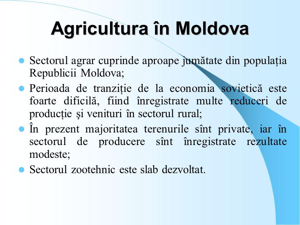 Agricultura în Moldova Sectorul agrar cuprinde aproape jumătate din populaţia Republicii Moldova; Perioada de tranziţie de la economia sovietică este