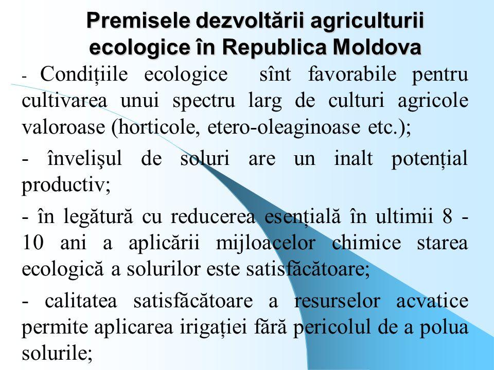 Premisele dezvoltării agriculturii ecologice în Republica Moldova - Condiţiile ecologice sînt favorabile pentru cultivarea unui spectru larg de cultur