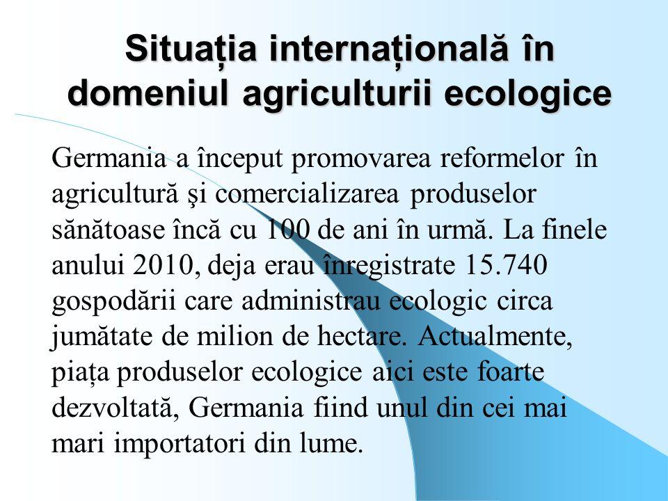 Situaţia internaţională în domeniul agriculturii ecologice Germania a început promovarea reformelor în agricultură şi comercializarea produselor sănăt