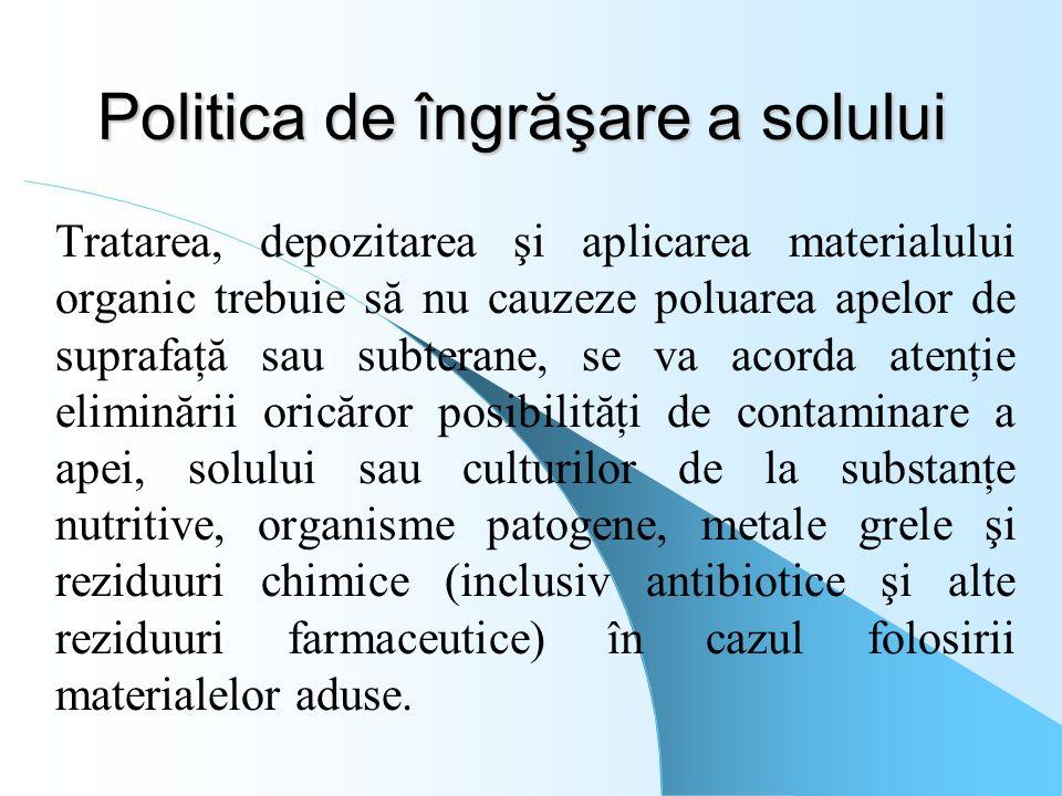 Politica de îngrăşare a solului Tratarea, depozitarea şi aplicarea materialului organic trebuie să nu cauzeze poluarea apelor de suprafaţă sau subtera