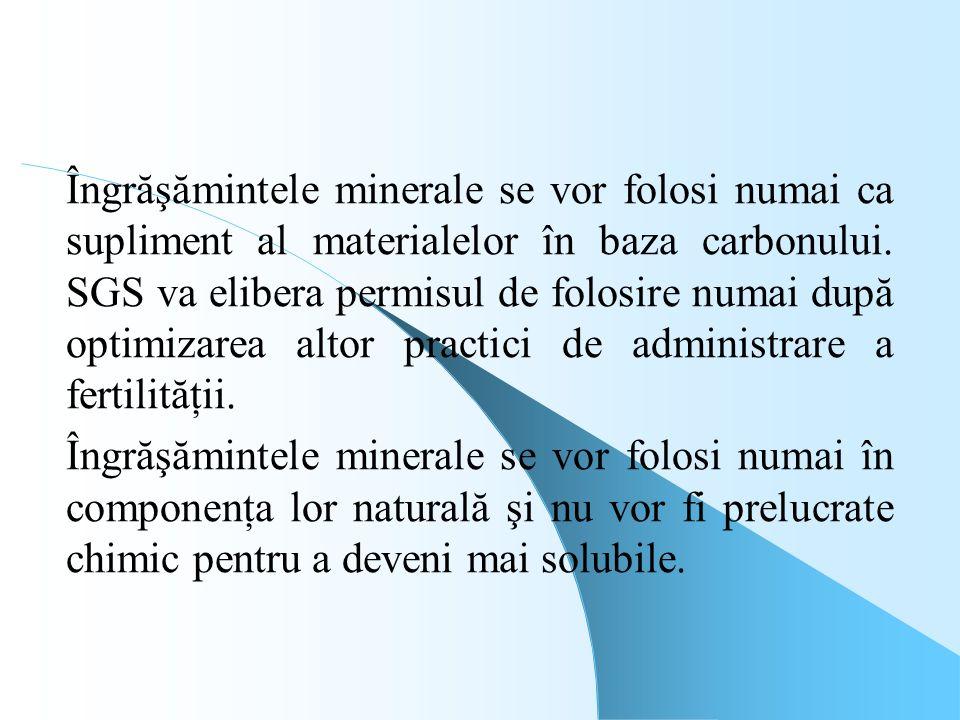 Îngrăşămintele minerale se vor folosi numai ca supliment al materialelor în baza carbonului. SGS va elibera permisul de folosire numai după optimizare