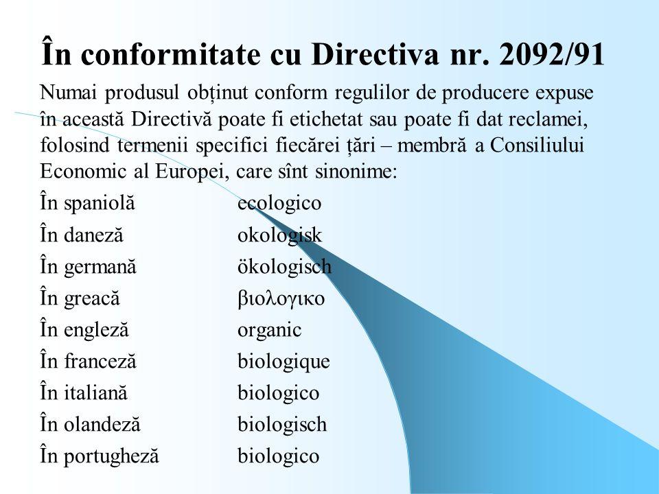 În conformitate cu Directiva nr. 2092/91 Numai produsul obţinut conform regulilor de producere expuse în această Directivă poate fi etichetat sau poat