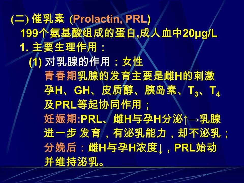 ( 二 ) 催乳素 ( Prolactin, PRL) 199 个氨基酸组成的蛋白, 成人血中 20μg/L 1. 主要生理作用: (1) 对乳腺的作用:女性 青春期乳腺的发育主要是雌 H 的刺激 孕 H 、 GH 、皮质醇、胰岛素、 T 3 、 T 4 及 PRL 等起协同作用; 妊娠期 :PRL