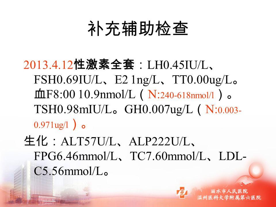 补充辅助检查 2013.4.12 性激素全套: LH0.45IU/L 、 FSH0.69IU/L 、 E2 1ng/L 、 TT0.00ug/L 。 血 F8:00 10.9nmol/L ( N: 240-618nmol/l )。 TSH0.98mIU/L 。 GH0.007ug/L ( N: 0.003- 0.971ug/l )。 生化: ALT57U/L 、 ALP222U/L 、 FPG6.46mmol/L 、 TC7.60mmol/L 、 LDL- C5.56mmol/L 。