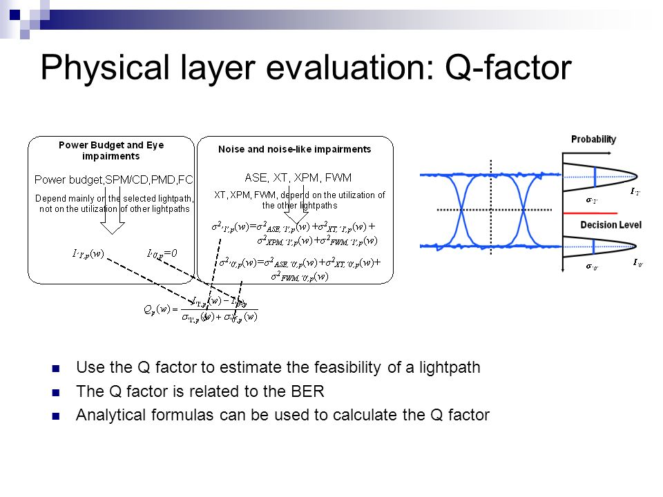 Physical layer evaluation: Q-factor Use the Q factor to estimate the feasibility of a lightpath The Q factor is related to the BER Analytical formulas can be used to calculate the Q factor