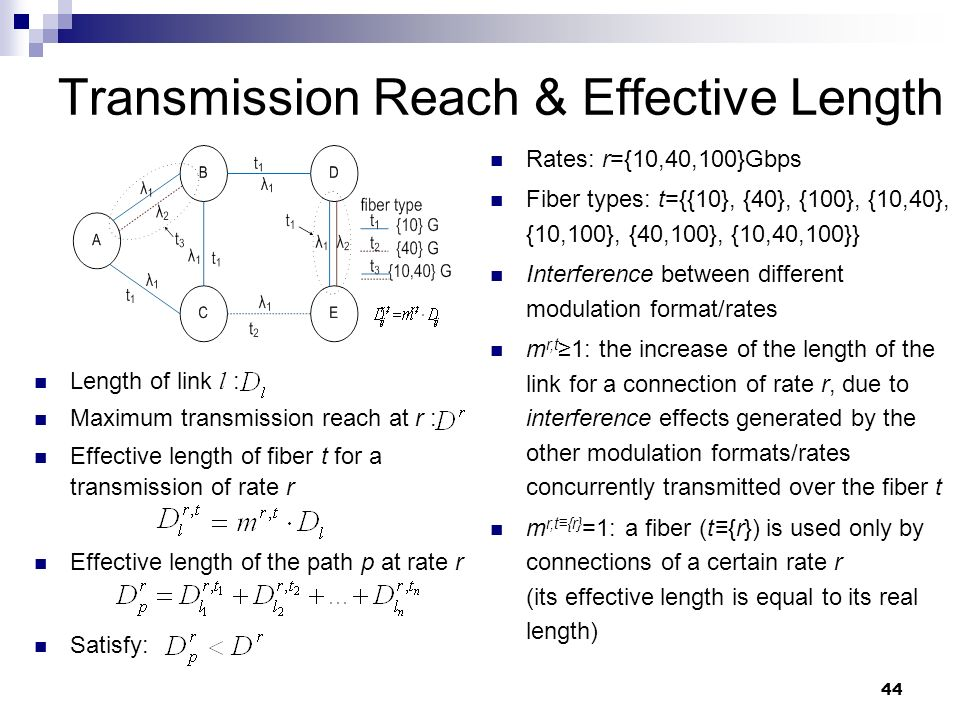 44 Transmission Reach & Effective Length Length of link l : Maximum transmission reach at r : Effective length of fiber t for a transmission of rate r Effective length of the path p at rate r Satisfy: Rates: r={10,40,100}Gbps Fiber types: t={{10}, {40}, {100}, {10,40}, {10,100}, {40,100}, {10,40,100}} Interference between different modulation format/rates m r,t ≥1: the increase of the length of the link for a connection of rate r, due to interference effects generated by the other modulation formats/rates concurrently transmitted over the fiber t m r,t≡{r} =1: a fiber (t≡{r}) is used only by connections of a certain rate r (its effective length is equal to its real length)