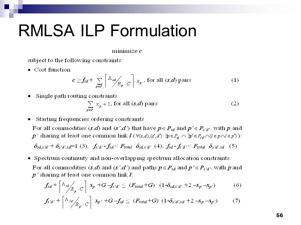 56 RMLSA ILP Formulation
