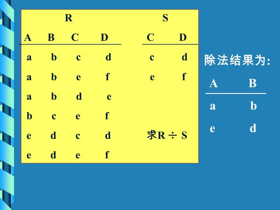 R S A B C D C D a b c d c d a b e f e f a b d e b c e f e d c d 求 R S e d e f 除法结果为 : A B a b e d