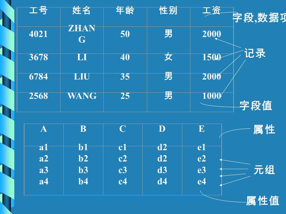 工号姓名年龄性别工资 4021 ZHAN G 50 男 2000 3678LI40 女 1500 6784LIU35 男 2000 2568WANG25 男 1000 ABCDE a1 a2 a3 a4 b1 b2 b3 b4 c1 c2 c3 c4 d2 d3 d4 e1 e2 e3 e4 字段,