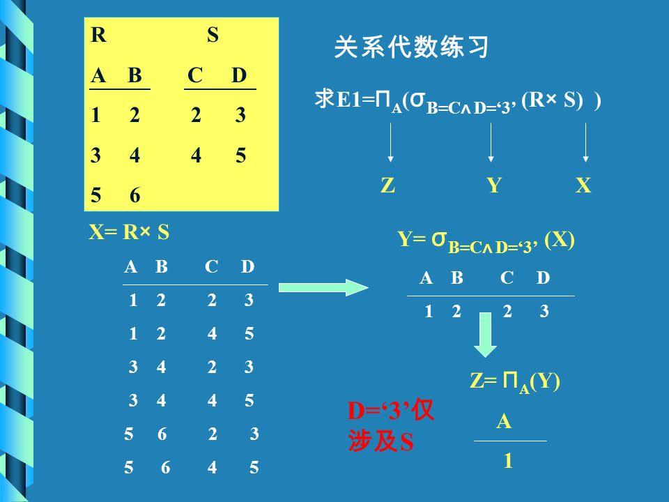 关系代数练习 R S A B C D 1 2 2 3 3 4 4 5 5 6 求 E1= Π A ( σ B=C ∧ D='3' (R × S) ) XYZ X= R × S A B C D 1 2 2 3 1 2 4 5 3 4 2 3 3 4 4 5 56 2 3 5 6 4 5 Y= σ B=