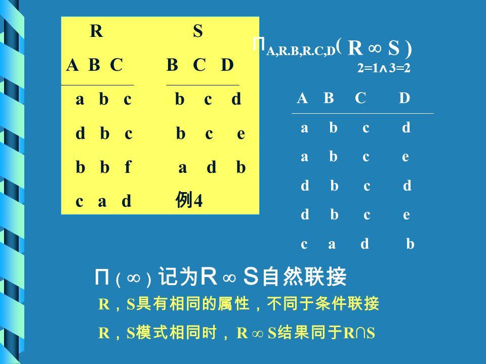 R S A B C B C D a b c b c d d b c b c e b b f a d b c a d 例 4 Π A,R.B,R.C,D ( R ∞ S ) 2=1 ∧ 3=2 A B C D a b c d a b c e d b c d d b c e c a d b Π ( ∞