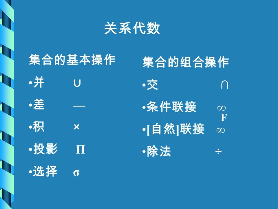 关系代数 集合的基本操作 并 ∪ 差 — 积 × 投影 Π 选择 σ 集合的组合操作 交 ∩ 条件联接 ∞ [ 自然 ] 联接 ∞ 除法 ÷ F