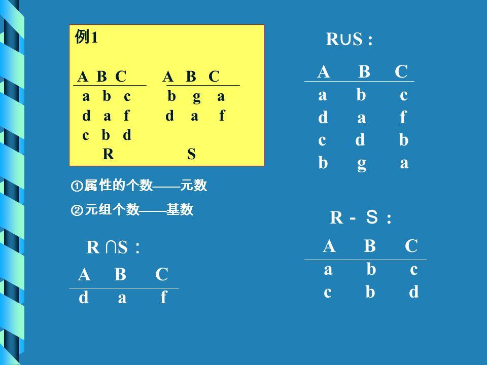 例 1 A B C A B C a b c b g a d a f d a f c b d R S A B C a b c d a f c d b b g a R -S : A B C a b c c b d ①属性的个数 —— 元数 ②元组个数 —— 基数 A B C d a f R ∪ S :