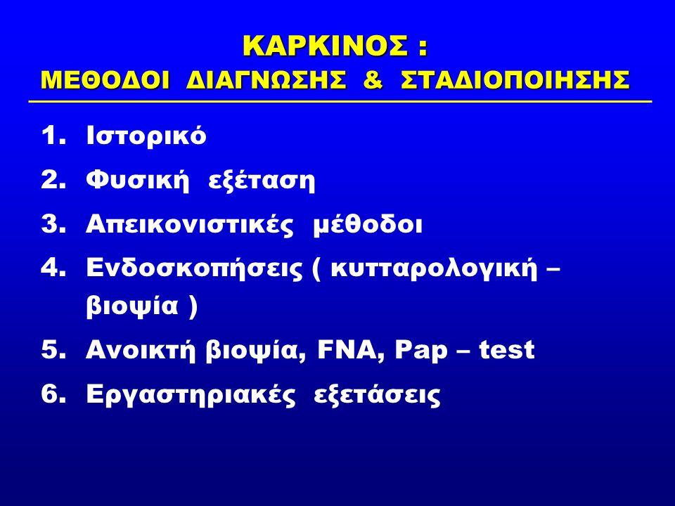 ΚΑΡΚΙΝΟΣ : ΜΕΘΟΔΟΙ ΔΙΑΓΝΩΣΗΣ & ΣΤΑΔΙΟΠΟΙΗΣΗΣ 1.Ιστορικό 2.Φυσική εξέταση 3.Απεικονιστικές μέθοδοι 4.Ενδοσκοπήσεις ( κυτταρολογική – βιοψία ) 5.Ανοικτή βιοψία, FNA, Pap – test 6.Εργαστηριακές εξετάσεις