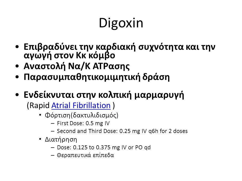 Digoxin Επιβραδύνει την καρδιακή συχνότητα και την αγωγή στον Κκ κόμβο Aναστολή Να/Κ ATPασης Παρασυμπαθητικομιμητική δράση Ενδείκνυται στην κολπική μα