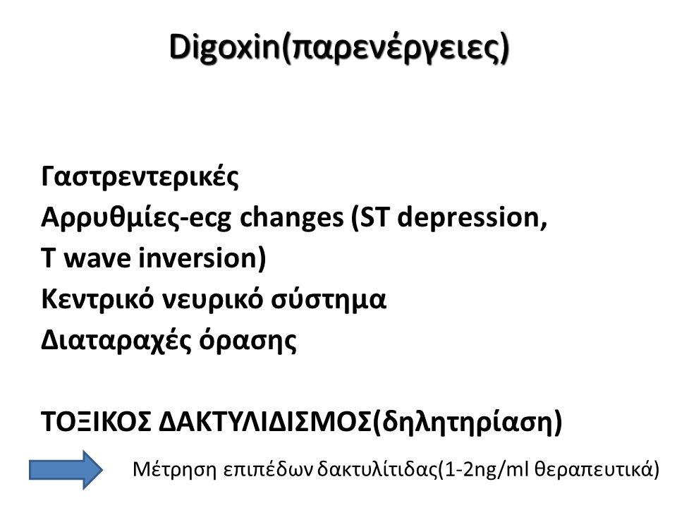 Digoxin(παρενέργειες) Digoxin(παρενέργειες) Adverse Effects Γαστρεντερικές Αρρυθμίες-ecg changes (ST depression, T wave inversion) Κεντρικό νευρικό σύ