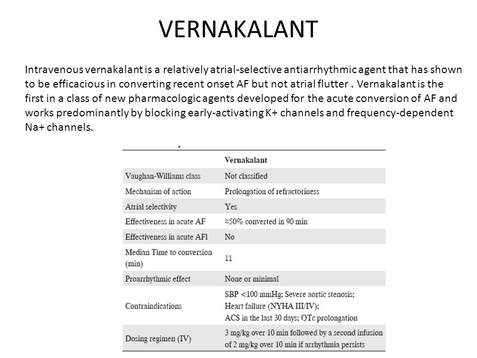 VERNAKALANT Intravenous vernakalant is a relatively atrial-selective antiarrhythmic agent that has shown to be efficacious in converting recent onset