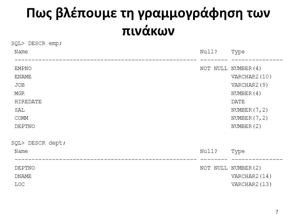 Πως βλέπουμε τη γραμμογράφηση των πινάκων SQL> DESCR emp; Name Null.