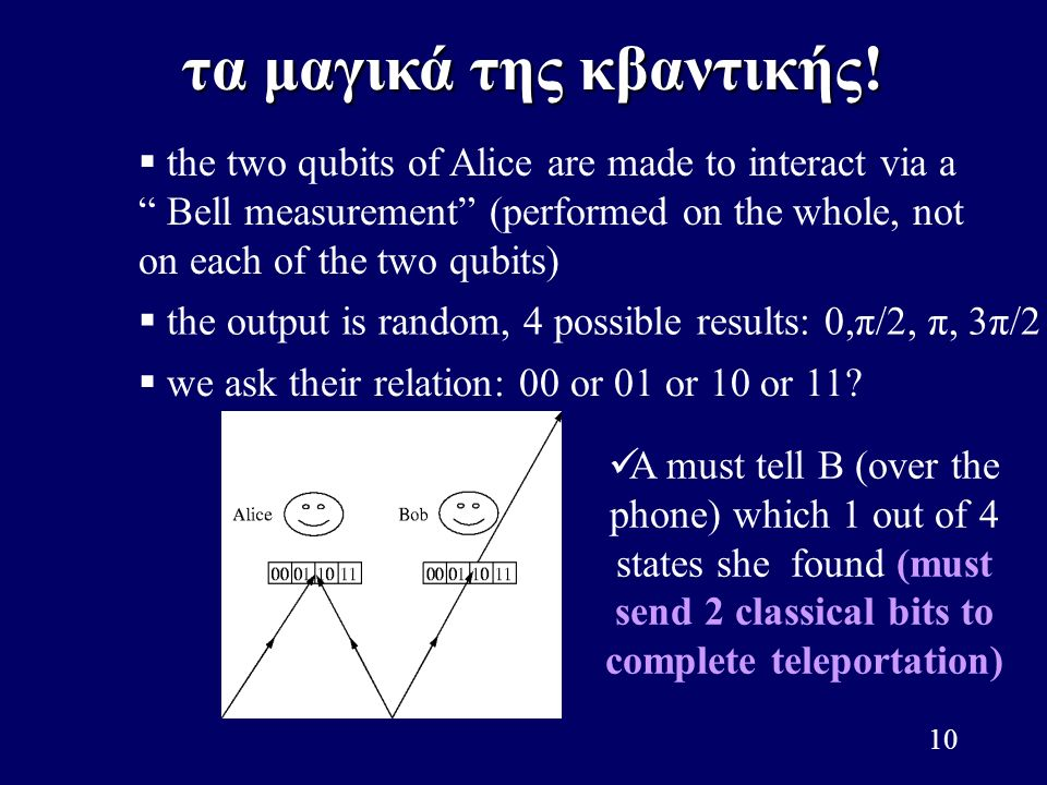 """10   the two qubits of Alice are made to interact via a """" Bell measurement"""" (performed on the whole, not on each of the two qubits)   the output i"""