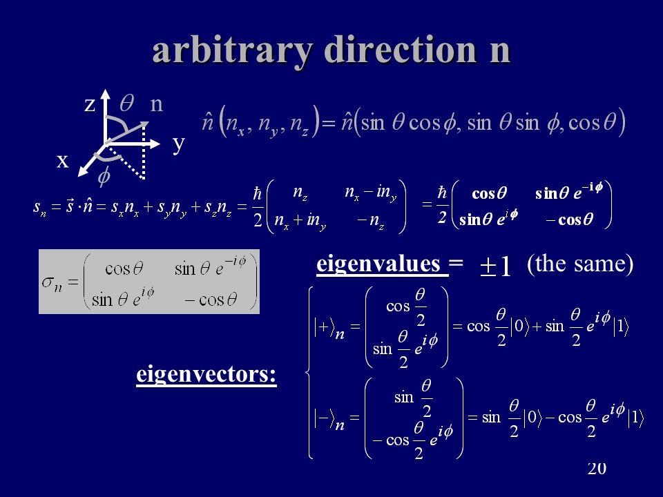 20 arbitrary direction n eigenvalues = eigenvectors: (the same) x z y n
