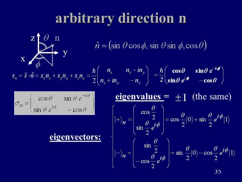35 arbitrary direction n eigenvalues = eigenvectors: (the same) x z y n