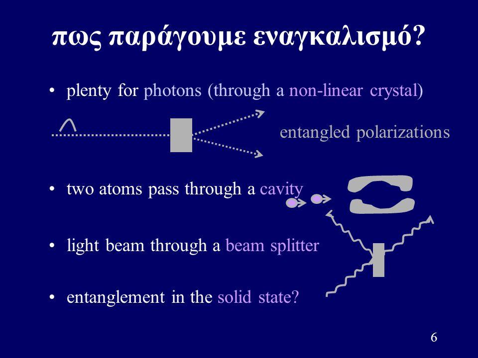 6 πως παράγουμε εναγκαλισμό? plenty for photons (through a non-linear crystal) entangled polarizations light beam through a beam splitter two atoms pa