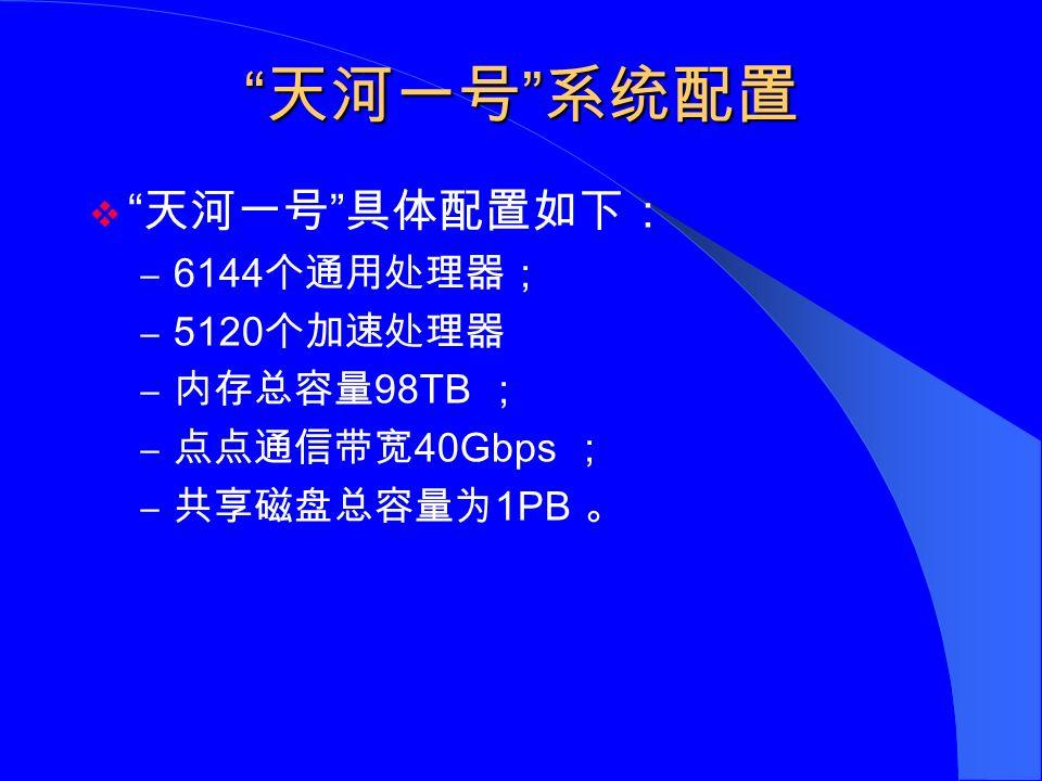 天河一号 系统配置  天河一号 具体配置如下: – 6144 个通用处理器; – 5120 个加速处理器 – 内存总容量 98TB ; – 点点通信带宽 40Gbps ; – 共享磁盘总容量为 1PB 。