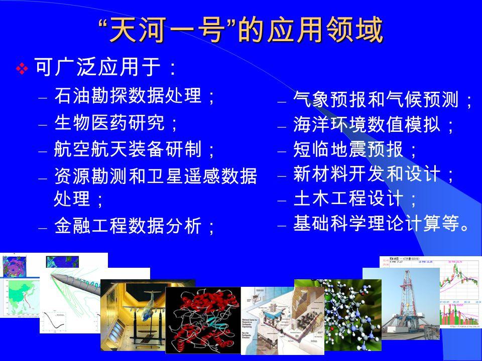 天河一号 的应用领域  可广泛应用于: – 石油勘探数据处理; – 生物医药研究; – 航空航天装备研制; – 资源勘测和卫星遥感数据 处理; – 金融工程数据分析; – 气象预报和气候预测; – 海洋环境数值模拟; – 短临地震预报; – 新材料开发和设计; – 土木工程设计; – 基础科学理论计算等。