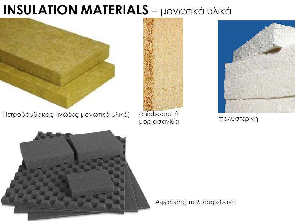 INSULATION MATERIALS = μονωτικά υλικά Πετροβάμβακας (ινώδες μονωτικό υλικό) chipboard ή μοριοσανίδα πολυστερίνη Αφρώδης πολυουρεθάνη