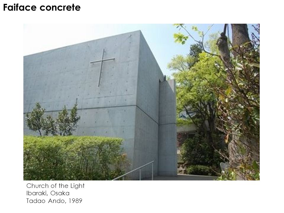 Faiface concrete Church of the Light Ibaraki, Osaka Tadao Ando, 1989