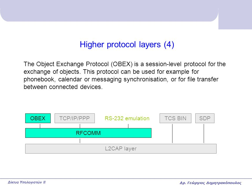 Δίκτυα Υπολογιστών II Higher protocol layers (4) The Object Exchange Protocol (OBEX) is a session-level protocol for the exchange of objects.