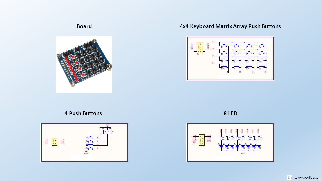 8 LED 4x4 Keyboard Matrix Array Push Buttons www.porlidas.gr 4 Push Buttons Board