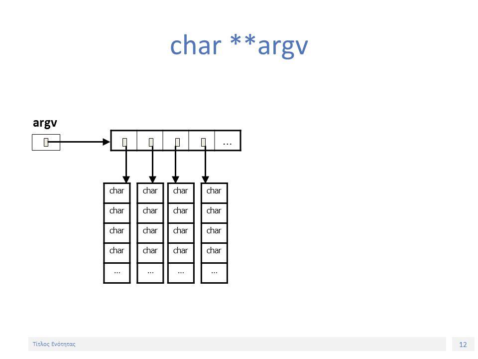 12 Τίτλος Ενότητας char **argv … argv char … … … …