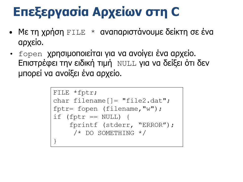 Επεξεργασία Αρχείων στη C Με τη χρήση FILE * αναπαριστάνουμε δείκτη σε ένα αρχείο.