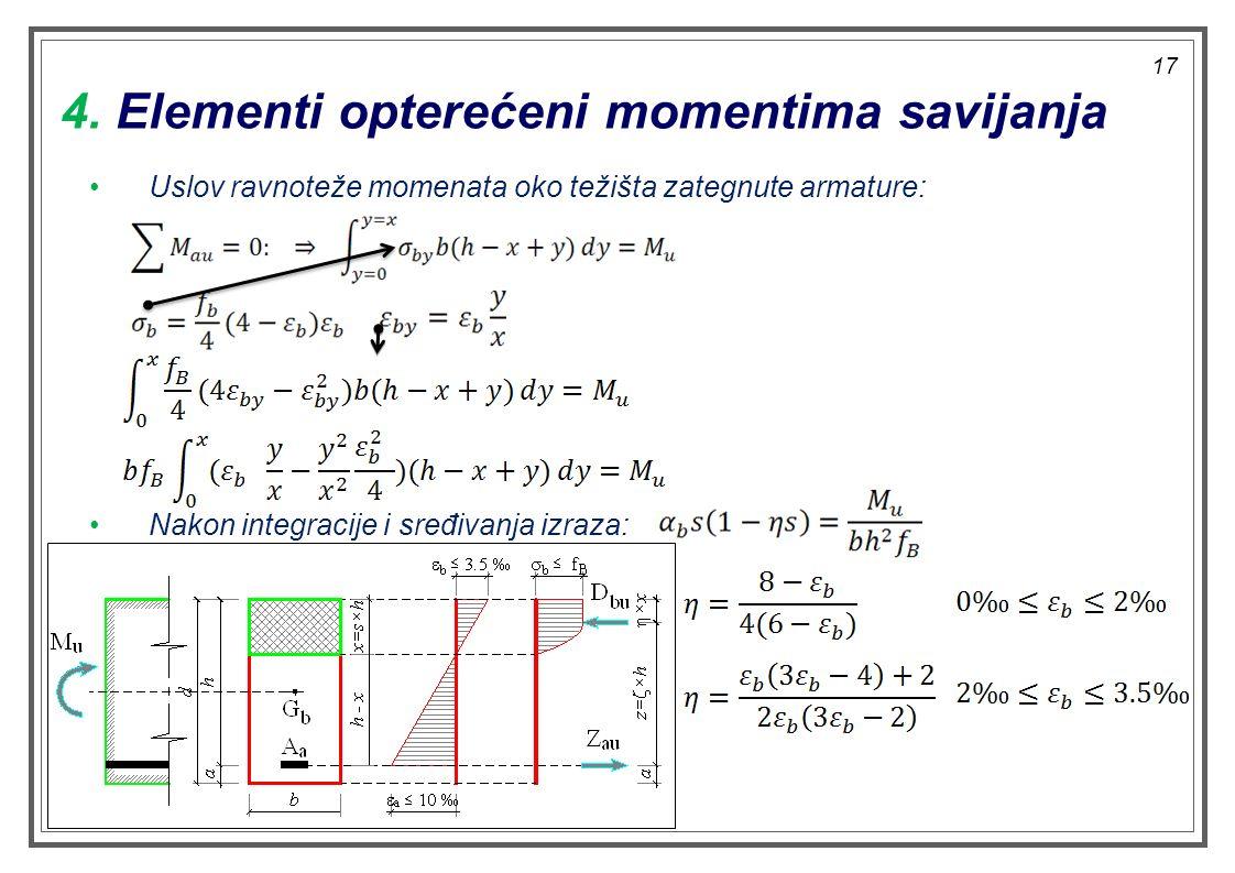 4. Elementi opterećeni momentima savijanja Uslov ravnoteže momenata oko težišta zategnute armature: Nakon integracije i sređivanja izraza: 17